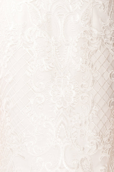 Narcissa White High-Low Mermaid Gown | Robe | Boudoir 1861 fabric detail