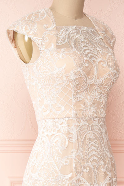 Narcissa Blush High-Low Mermaid Gown | Robe | Boudoir 1861 side close-up