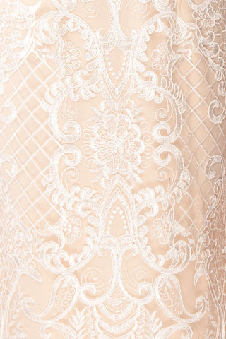 Narcissa Blush High-Low Mermaid Gown | Robe | Boudoir 1861 fabric detail