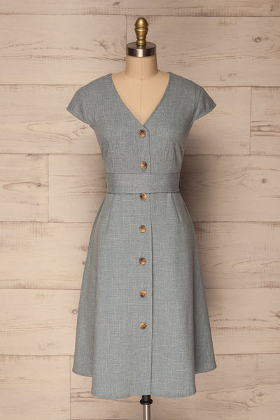 Narganes Light Blue Buttoned A-Line Dress | La Petite Garçonne
