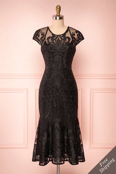 Narita Black Lace Fitted Midi Cocktail Dress | Boutique 1861