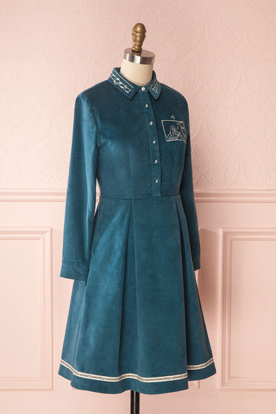 Narumi Teal Button-Up A-line Dress with Embroidery | Boutique 1861