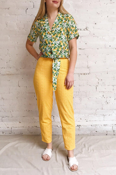 Klobuck Yellow Openwork Straight Leg Pants | La petite garçonne model look 2