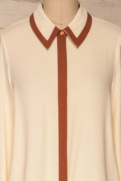 Nataf Cream Blouse | Chemisier | La Petite Garçonne | front close-up