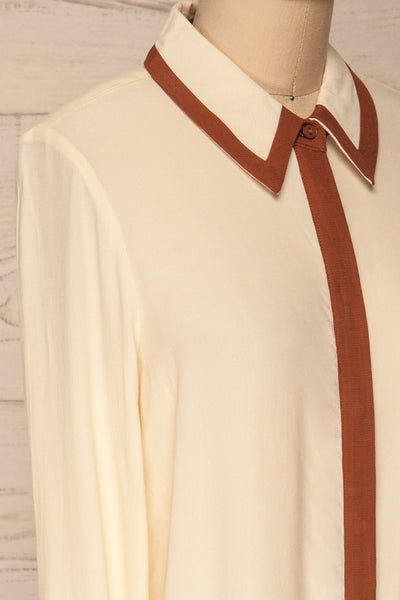 Nataf Cream Blouse | Chemisier | La Petite Garçonne | side close-up