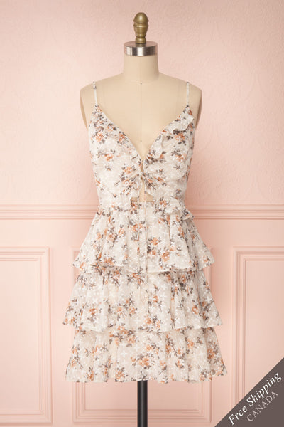 Natane Short Beige Floral Dress w/ Frills | Boutique 1861 front view FS