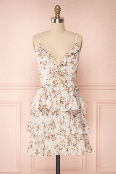 Natane Short Beige Floral Dress w/ Frills | Boutique 1861 bottom