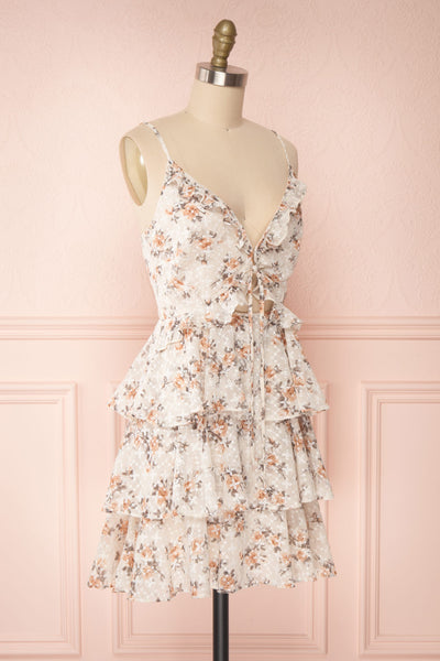 Natane Short Beige Floral Dress w/ Frills | Boutique 1861 side view