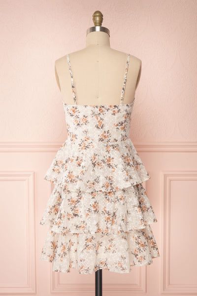 Natane Short Beige Floral Dress w/ Frills | Boutique 1861 back view