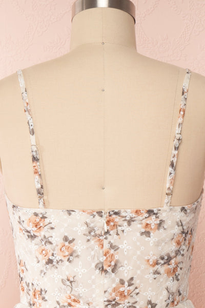 Natane Short Beige Floral Dress w/ Frills | Boutique 1861 back close up