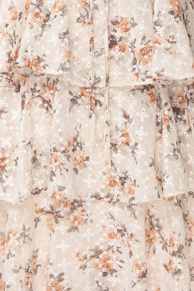 Natane Short Beige Floral Dress w/ Frills | Boutique 1861 fabric