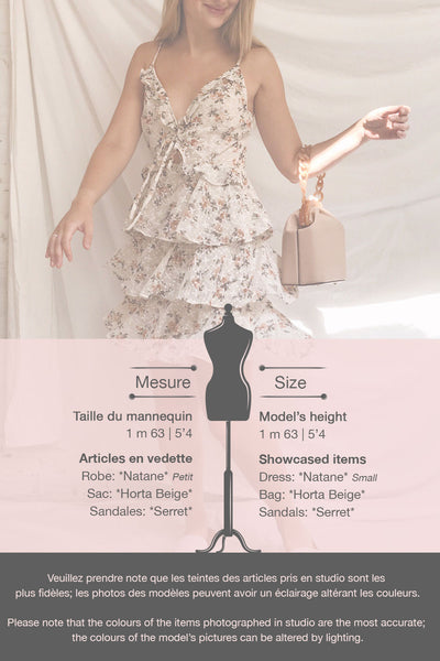 Natane Short Beige Floral Dress w/ Frills | Boutique 1861 template