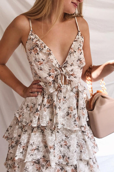 Natane Short Beige Floral Dress w/ Frills | Boutique 1861 model close up