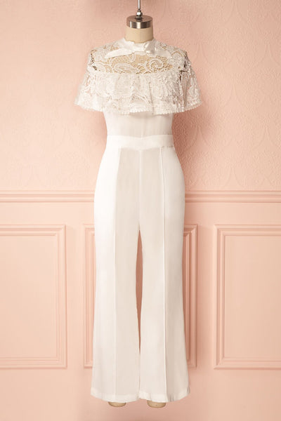 Natsu Jour White Party Jumpsuit with Lace Ruffle | Boudoir 1861