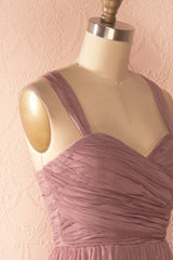 Nattie Mauve - Maxi purple tulle prom dress