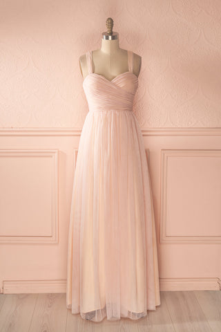 98435ae543 Nattie Blush Pink Tulle Prom Dress