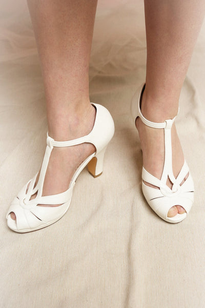 Nausori Cream Retro T-Strap Heels | Talons | Boutique 1861 on model