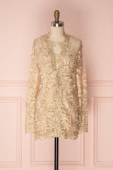 Nawar Golden Embroidered Mesh Blazer Jacket | Boutique 1861