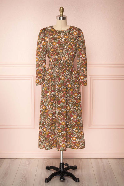 Nazayia Olive Green Floral Mid A-Line Dress | FRONT VIEW | Boutique 1861