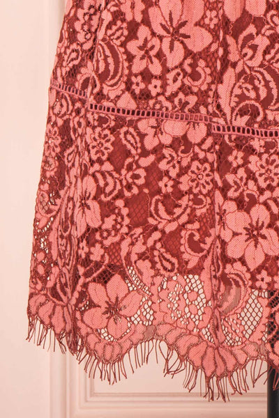 Nebula Pink Lace Short A-Line Dress bottom close up | Boutique 1861