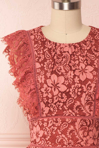 Nebula Pink Lace Short A-Line Dress Front Close up | Boutique 1861