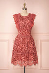 Nebula Pink Lace Short A-Line Dress | Boutique 1861