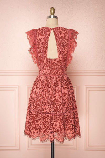 Nebula Pink Lace Short A-Line Dress back view | Boutique 1861