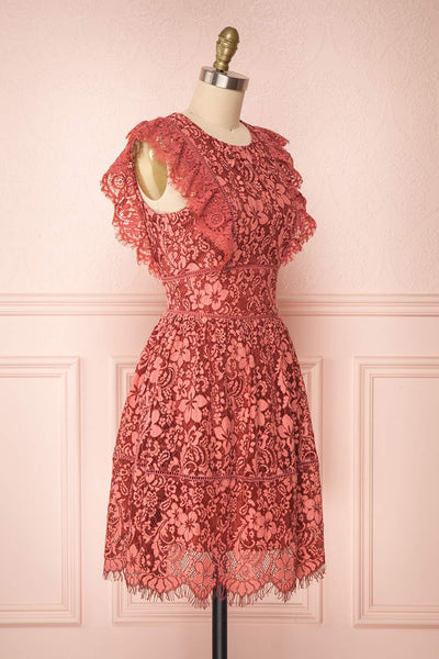 Nebula Pink Lace Short A-Line Dress Side view | Boutique 1861