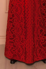 Nelda Feu - Sweetheart Neckline Red Lace Maxi Dress
