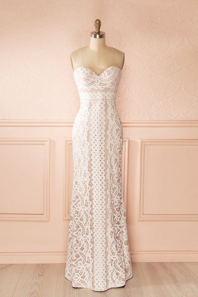 Nelda Neige - Cream lace bustier gown front view