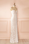 Nelda Neige - Cream lace bustier gown side view