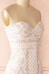 Nelda Neige - Cream lace bustier gown side close-up
