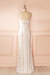 Nelda Neige - Cream lace bustier gown back view
