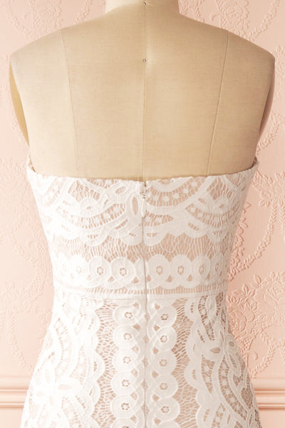 Nelda Neige - Cream lace bustier gown back close-up