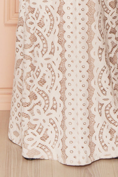Nelda Neige - Cream lace bustier gown bottom close-up