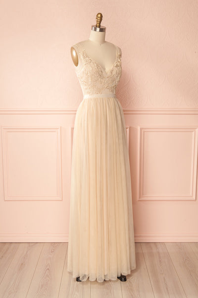Néomie Cream | Tulle Gown with Lace