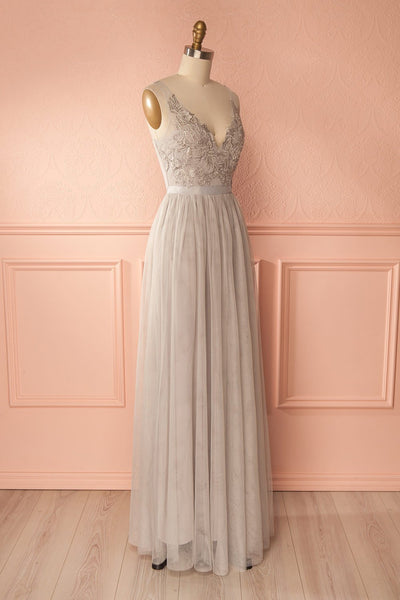 Néomie Grey Tulle Gown with Crocheted Lace | Boudoir 1861