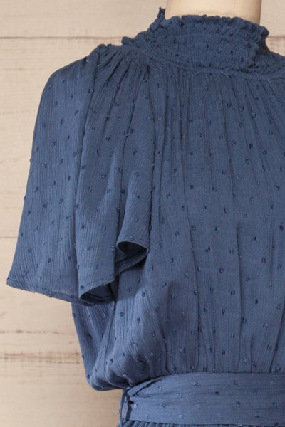 Niepolomice Blue Wide Leg Plumetis Jumpsuit | La petite garçonne side close-up