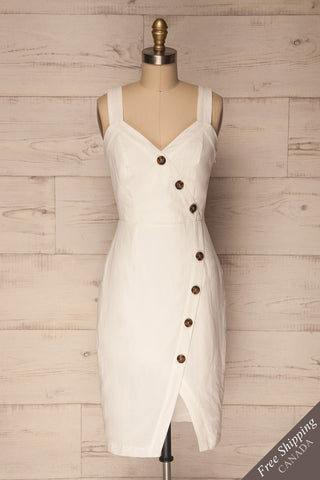 Nietap White Buttoned Wrap Cocktail Dress | La Petite Garçonne