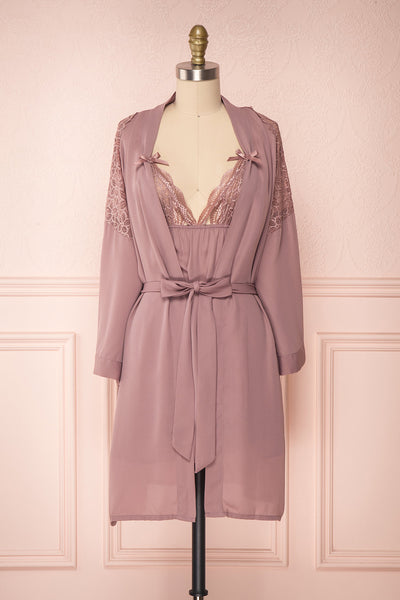 Nikaho Lilas Dusty Lilac Kimono & Slip Dress Set | Boutique 1861