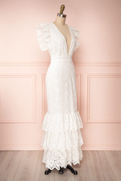 Nikoletta White Crocheted Lace Bridal Dress side view | Boudoir 1861