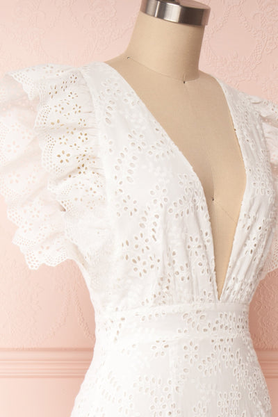 Nikoletta White Crocheted Lace Bridal Dress side close up | Boudoir 1861