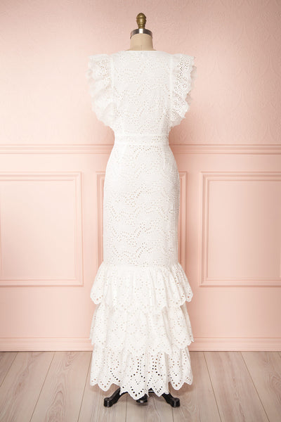 Nikoletta White Crocheted Lace Bridal Dress back view | Boudoir 1861