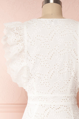 Nikoletta White Crocheted Lace Bridal Dress back close up | Boudoir 1861