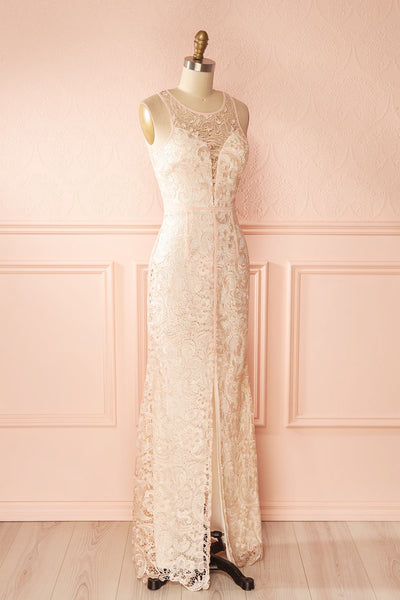 Nilia Quartz Light pink lace gown | Boutique 1861 side view