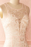 Nilia Quartz Light pink lace gown | Boutique 1861 side close-up