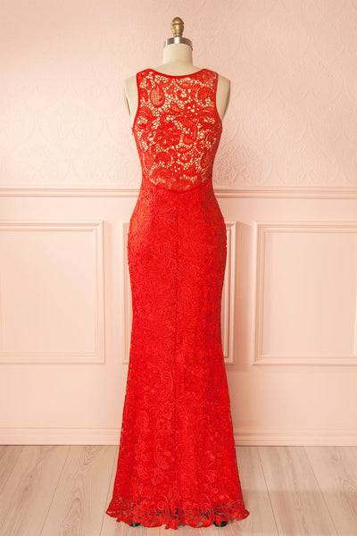 Nilia Ruby Lace Maxi Dress | Boutique 1861 back view