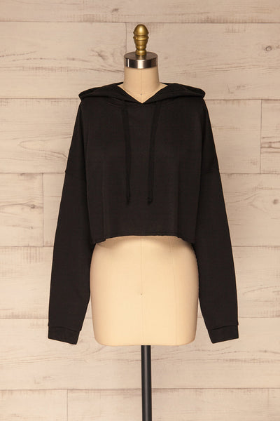 Nimegen Black Cropped Hooded Sweater | La petite garçonne front view