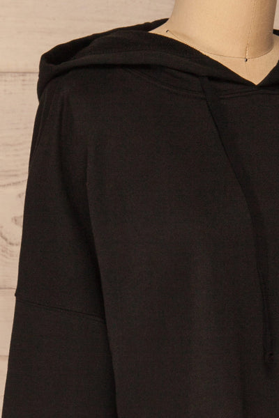 Nimegen Black Cropped Hooded Sweater | La petite garçonne side close-up