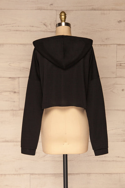 Nimegen Black Cropped Hooded Sweater | La petite garçonne back view